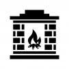 レンガの暖炉の白黒シルエットイラスト03