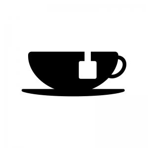 紅茶の白黒シルエットイラスト02