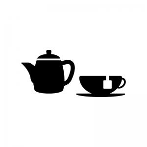 紅茶とティーポットの白黒シルエットイラスト