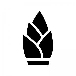 タケノコの白黒シルエットイラスト