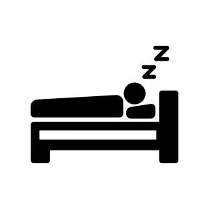 ベッドで寝る人の白黒シルエットイラスト