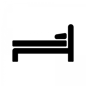 ベッドの白黒シルエットイラスト