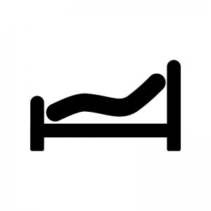 リクライニングベッドの白黒シルエットイラスト