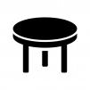 丸いテーブルの白黒シルエットイラスト