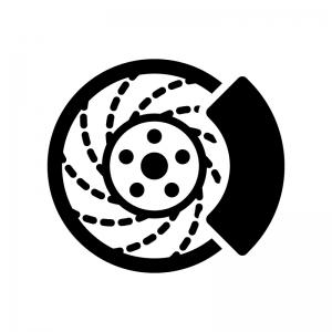 ディスクブレーキの白黒シルエットイラスト