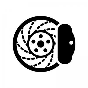 ディスクブレーキの白黒シルエットイラスト02