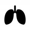 肺の白黒シルエットイラスト