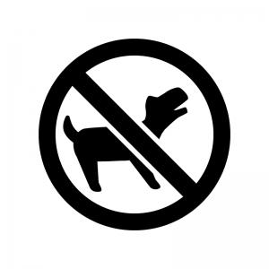 ペット連れ込み禁止の白黒シルエットイラスト