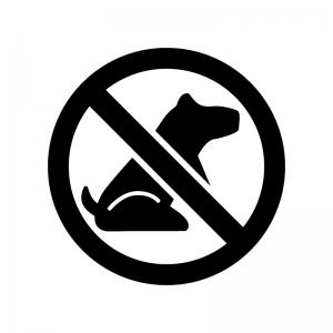 ペット連れ込み禁止の白黒シルエットイラスト02