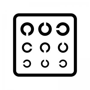 視力検査表の白黒シルエットイラスト