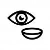 目とコンタクトレンズの白黒シルエットイラスト