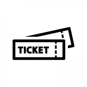 チケットの白黒シルエットイラスト