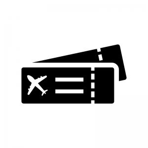航空チケットの白黒シルエットイラスト02