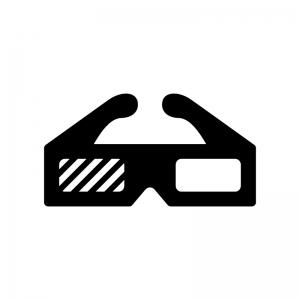 3Dメガネの白黒シルエットイラスト