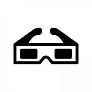 3Dメガネの白黒シルエットイラスト02