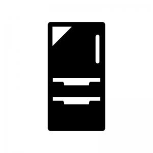 冷蔵庫の白黒シルエットイラスト