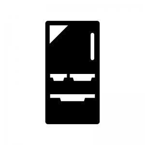 冷蔵庫の白黒シルエットイラスト02