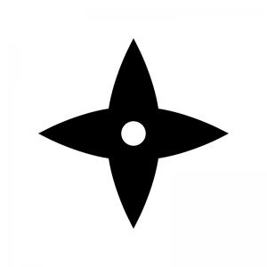 手裏剣の白黒シルエットイラスト