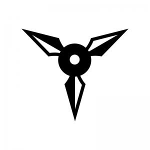 手裏剣の白黒シルエットイラスト02