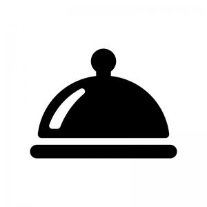 クロッシュ・丸皿カバーの白黒シルエットイラスト