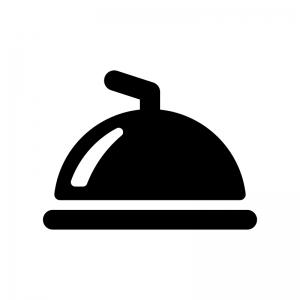 クロッシュ・丸皿カバーの白黒シルエットイラスト02