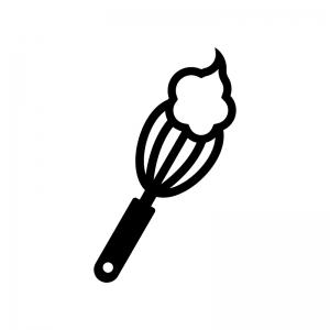 クリームと泡だて器の白黒シルエットイラスト