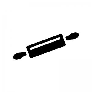 麺棒・のし棒の白黒シルエットイラスト素材02