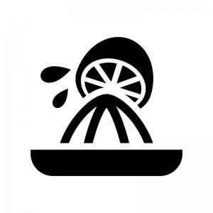 スクイーザーで果汁を絞る白黒シルエットイラスト