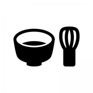 茶道・茶碗と茶筅の白黒シルエットイラスト