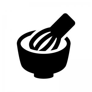 茶道・抹茶の白黒シルエットイラスト
