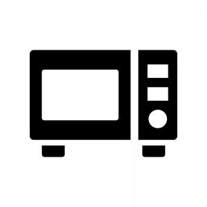 電子レンジの白黒シルエットイラスト03