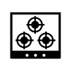 ガスコンロの白黒シルエットイラスト02