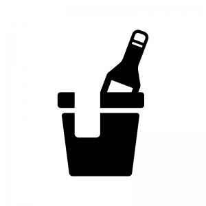 冷えたワインの白黒シルエットイラスト