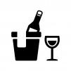 冷えたワインとグラスの白黒シルエットイラスト