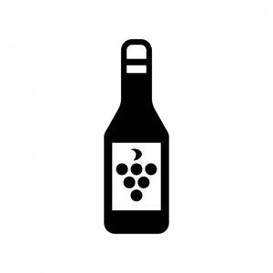 ワインボトルの白黒シルエットイラスト