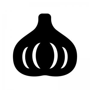ニンニクの白黒シルエットイラスト