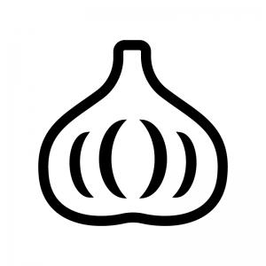 ニンニクの白黒シルエットイラスト02