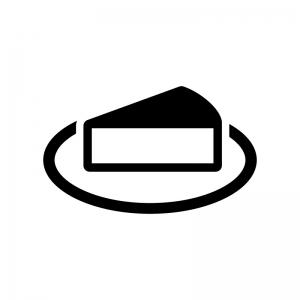 チーズケーキの白黒シルエットイラスト