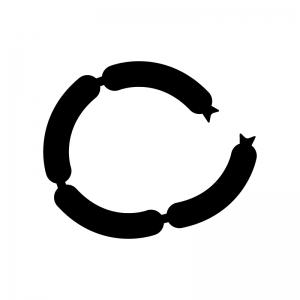 ソーセージの白黒シルエットイラスト02