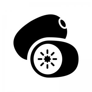キウイフルーツの白黒シルエットイラスト