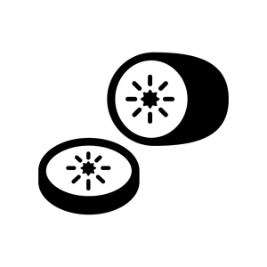 キウイフルーツの白黒シルエットイラスト02
