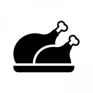 チキン・七面鳥の丸焼きの白黒シルエットイラスト