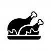 チキン・七面鳥の丸焼きの白黒シルエットイラスト02