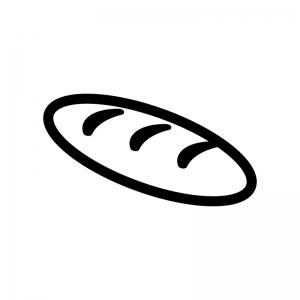 コッペパンの白黒シルエットイラスト03