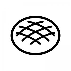 メロンパンの白黒シルエットイラスト02