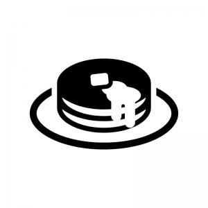 ホットケーキの白黒シルエットイラスト02
