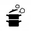 蒸し器と蒸気の白黒シルエットイラスト