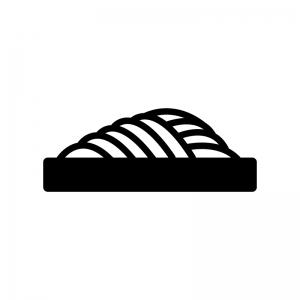 ざる蕎麦の白黒シルエットイラスト