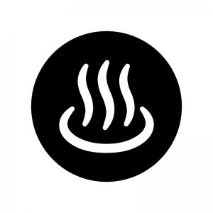 白抜きの温泉マークの白黒シルエットイラスト