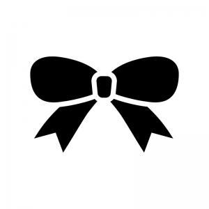 リボンの白黒シルエットイラスト04